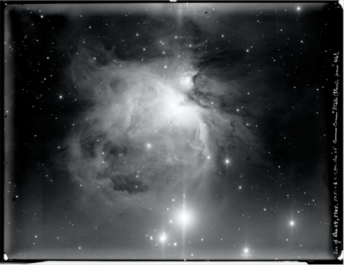 Plate Ri-0 THE GREAT NEBULA OF ORION: This is a digital print of a photographic plate from the Ritchey 60-inch telescope at Mount Wilson Observatory, made in 1908. from the archive of the Carnegie Observatories, in Pasadena, California. more about this http://nautil.us/issue/32/space/these-astronomical-glass-plates-made-history